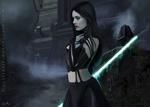 Обои Девушка-воин из Ордена Ситхов стоит на фоне Dark Temple / Темного храма, арт к фильму Star Wars / Звездные Войны, by Cecilia G. F