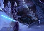 Обои Девушка-джедай Rey / Рей стоит под ночным звездным небом, арт к фильму Star Wars / Звездные Войны, by Cecilia G. F