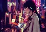 Обои Девушка стоит на улице ночного японского города под дождем, среди плавающих рыб, by Cecilia G. F