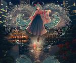 Обои Vocaloid Hatsune Miku / вокалоид Хацунэ Мику парит над водой