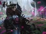 Обои Девушка-самурай стоит на фоне цветущей весенней природы Японии, by Manuel Castanon