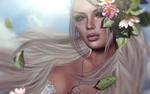 Обои Девушка - блондинка с цветами у лица