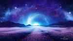 Обои Лавандовые поля в легком тумане на фоне ночного неба, by Gene Raz von Edler