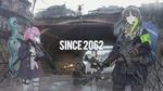 Обои Девчонки с автоматами в руках патрулируют возле моста в центре города, персонажи из мобильной стратегической игры Girls Frontline