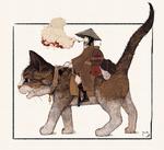 Обои Девушка в шляпе, с трубкой во рту сидит на кошке