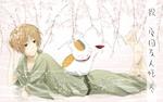 Обои Takashi Natsume / Такаши Нацумэ и Nyanko-sensei / Нянко-сенсея отдыхают под цветущей сакурой из аниме Natsune Yuujinchou / Тетрадь друзей Нацумэ