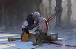 Обои Девушка-маг и воин, пронзенный мечом, стоят на коленях друг перед другом, by Mingchen Shen