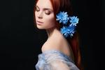 Обои Девушка с голубыми цветами на волосах, by bouzid27