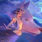 Обои Princess Mononoke / Принцесса Мононокэ и богиня-волчица Moro / Моро из аниме Princess Mononoke / Принцесса Мононоке / Mononoke Hime, by Dzikawa