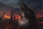 Обои Кащей Бессмертный возвышается за спиной девушки, стоящей с закрытыми глазами среди бушующего огня, by Евгений Зубков