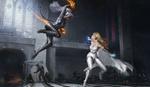 Обои Felicia Hardy- Black Cat vs Dazzler / Фелиция Харди-Черная кошка против Искры-Элисон Блэр из комиксов компании Марвел / Marvel, by Yujin Choo
