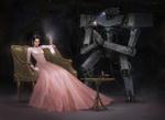 Обои Робот с цветком стоит около хмурой девушке в свадебном платье, сидящей в кресле, by Yujin Choo