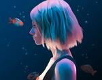 Обои Девушка с голубыми волосами стоит в окружении рыбок