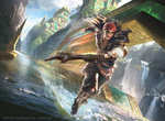 Обои Девушка-пират бежит по воде с магическим оружием, арт к игре Magic: The Gathering, by G-host Lee