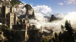 Обои Замок, окутанный облаками, среди сосен и гор, арт к игре Ведьмак 3 / The Witcher 3