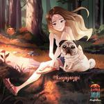 Обои Девочка сидит рядом с собакой в лесу, by Kuya Jaypi