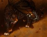 Обои Крылатый тигр в окружении бабочек, by Pixxus