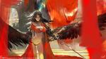 Обои Темный ангел-воительница на фоне городской улицы, by Evan Lee