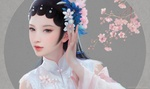 Обои Девушка-китаянка в белой рубашке с цветами на голове, by Ruoxin Zhang