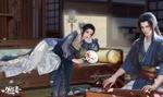 Обои Девушка лежит на кушетке с веером и смотрит на юношу, играющего на музыкальном инструменте, by Ruoxin Zhang