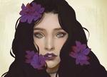 Обои Портрет девушки с сиреневыми цветами на волосах, by Cindy Handoyo