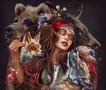 Обои Девушка с украшением на голове в окружении животных, by Kaloyan Stoyanov