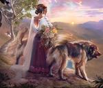 Обои Девушка с украшением на голове и букетом цветов в руках стоит рядом с собакой, by Kaloyan Stoyanov