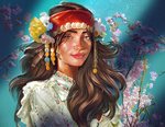 Обои Девушка с украшением на голове стоит на фоне весенних веточек, by Kaloyan Stoyanov