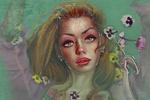 Обои Девушка с цветами анютины глазки лежит в воде, by Kaloyan Stoyanov
