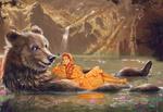 Обои Девушка с с медведем в воде, by Kaloyan Stoyanov