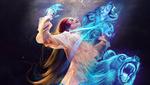 Обои Девушка с голубыми духами волка и медведя, by Kaloyan Stoyanov