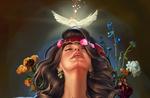 Обои Девушка с цветами и голубем над головой, by Kaloyan Stoyanov