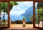 Обои Вид из окна на курортный морской пейзаж