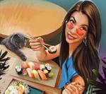 Обои Девушка в очках с китайскими палочками в руке сидит за столиком и дымчатая кошка тянет лапку к еде, by Kaloyan Stoyanov