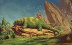 Обои Большое зеленое существо спит на камне