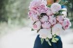 Обои Девушка с букетом розовых пионов, by Anita Austvika