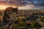 Обои Работа Even the gargoyles are crying / Даже горгульи плачут, панорамный вид на Париж, by Juan Pablo de Miguel