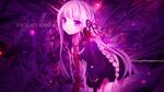 Обои Кеко Киригири / Kyoko Kirigiri из аниме Школа отчаяния / Danganronpa на фиолетовом фоне с огоньками с именной надписью