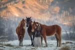 Обои Девушка стоит с лошадьми на заснеженной земле, на фоне гор, фотограф Анюта Онтикова