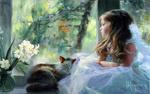 Обои Кошка спит на подоконнике рядом с сидящей девочкой в белом платье, которая с грустью смотрит в окно, художник ВЛАДИМИР ВОЛЕГОВ