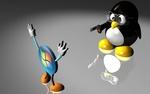 Обои Пингвин наставил пистолет на знак Windows PC в виде человечка