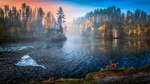 Обои Раннее туманное осеннее утро на реке, by M. T. L Photography