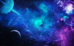 Обои Планеты в космической разноцветной туманности, by Funerium