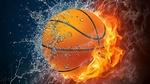Обои Баскетбольный мяч между водой и огнем
