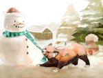 Обои Красная панда схватила зубами шарф снеговика, by Limecrumble