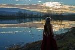 Обои Девушка на берегу озера, закат, by Lanius