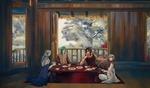Обои Демоны Jae-ha, Kija, Shin-ah и Zeno сидят за столом в комнате с видом на сад из аниме Akatsuki no Yona / Рассвет Йоны