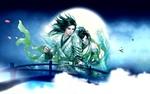 Обои Парень с девушкой в китайской одежде на фоне полной Луны, моста и тумана