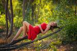Обои Девушка в красном платье лежит на ветви дерева с задумчивым взглядом, фотограф arif atli
