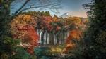 Обои Вид на вулкан Фудзияма / Fujiyama и водопад осенью, Япония / Japan